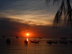 Coucher de soleil sur la plage de Sairee