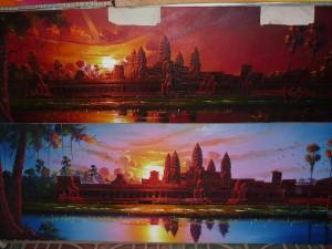 peintures de Angkor Wat +/- 100x45 cm : 15 euros