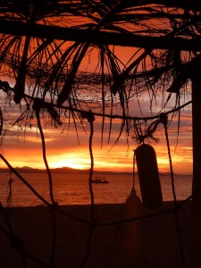 Coucher de soleil sur notre ile Kapas